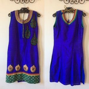 India Silk Sari Suit Top Tunic Flames Jewels Blue